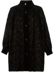 Yves Saint Laurent Vintage Floral Embroidered Coat Black
