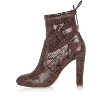 River Island Womens Dark Red Snake Print Ankle Boots