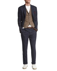 Brunello Cucinelli Check Two Button Wool Blazer Blue