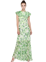 Isolda Ruffled Lime Printed Silk Chiffon Dress Green