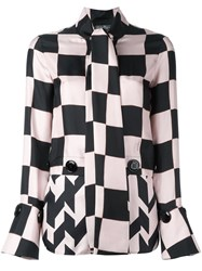 Salvatore Ferragamo Checkboard Panelled Blouse Pink Purple