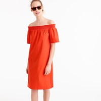 J.Crew Petite Off The Shoulder Dress In Cotton Poplin