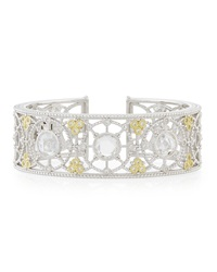 Judith Ripka Sterling Silver Sapphire And Crystal Cuff Bracelet