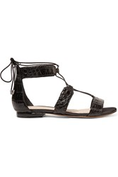Alexandre Birman Brenda Lace Up Crocodile Sandals Black