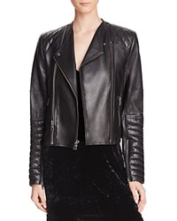 Alice Olivia Gamma Quilted Leather Biker Jacket Black Gunmetal