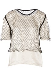 Maison Martin Margiela Fishnet Paneled Satin Top White