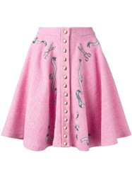 Olympia Le Tan Pleated Button Up Skirt Pink And Purple
