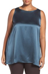 Eileen Fisher Plus Size Women's Bateau Neck Silk Crepe Tank Fir