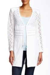 Insight Knit Sleeve Faux Leather Jacket White