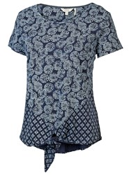 Fat Face Henlow Coins Tie Front Top Navy