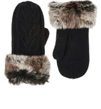 Barneys New York Women's Faux Fur Cuff Cable Knit Mittens Black