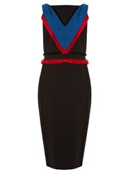 Altuzarra Caulfield Fringed Trim Cady Midi Dress Black Multi