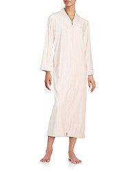 Oscar De La Renta Front Zipper Long Sleeve Gown Blush