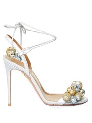 Aquazzura Disco Thing Sequinned Pompom Suede Sandals Silver Gold