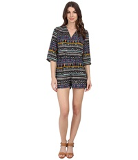 Kut From The Kloth Julie Surplus Romper With 3 4 Sleeve Royal Tribal Women's Jumpsuit And Rompers One Piece Gray