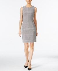 Calvin Klein Houndstooth Sheath Dress Cream Black