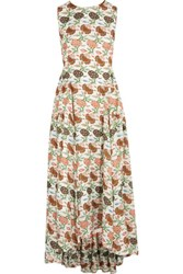 Tory Burch Kendal Floral Print Silk Dress Ivory