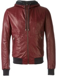 Dolce And Gabbana Leather Hooded Jacket Pink And Purple