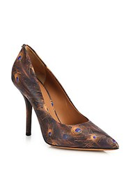 Givenchy Feather Print Leather Pumps Multicolor