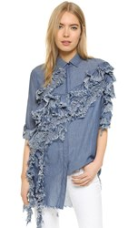 Marques Almeida Long Shirt With Front Ruffles Mid Blue Chambray