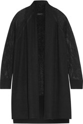 Magaschoni Open Knit Paneled Cashmere Cardigan Black