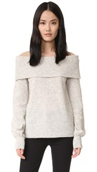 Designers Remix Alta Off Shoulder Sweater Light Grey Melange