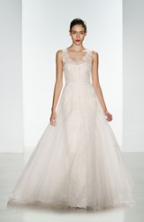 Women's Amsale 'Rae' Corded Lace Gown With Tulle Overskirt Ivory Blush