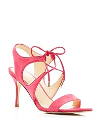 Ivanka Trump Garver Lace Up High Heel Sandals Pink Coral