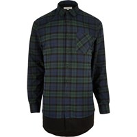 River Island Mens Green Checked Double Layer Longline Shirt