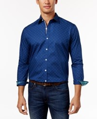 Club Room Men's Dot Print Shirt Only At Macy's Blue Opal