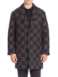 Ami Alexandre Mattiussi Long Checkerboard Wool Coat Anthracite