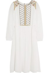 Paul And Joe Roseraie Embroidered Beaded Muslin Midi Dress Off White