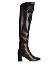 Saint Laurent Babies Over The Knee Leather Boots Black