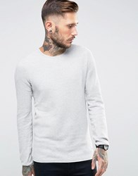 Only And Sons Waffle Knit Jumper Light Grey Marl