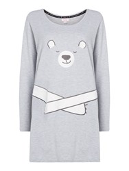 Therapy Bear Fleece Sleep Tee Grey