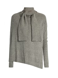 Edun Front Overlay Long Sleeved Wool Sweater Light Grey