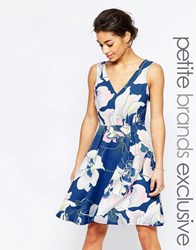 Paper Dolls Petite Plunge Back Prom Dress With Floral Print Multi
