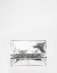 Asos Metallic Soft Leather Flap Over Clutch Bag Silver