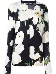 Dolce And Gabbana Tulip Print Cardigan Black