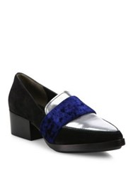 3.1 Phillip Lim Quinn Suede Metallic Leather And Velvet Loafers Silver Royal Blue