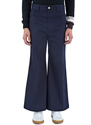 Wales Bonner Isaac Wide Leg Flared Jeans Blue