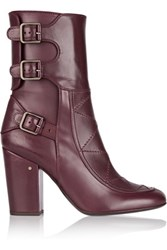 Laurence Dacade Merli Buckled Leather Boots Burgundy