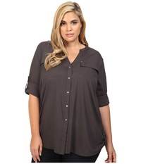 Calvin Klein Plus Size Crew Neck Roll Sleeve Top Charcoal Women's Long Sleeve Pullover Gray
