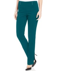 Jm Collection Studded Pull On Pants Teal Abyss