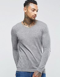 Asos Muscle Fit V Neck Jumper In Light Grey Cotton Grey Marl