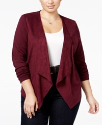 Inc International Concepts Plus Size Faux Suede Draped Cardigan Only At Macy's Port