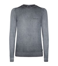 Armani Jeans Distressed Crew Neck Sweater Male Blue