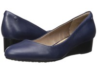 Hush Puppies Dot Admire Navy Leather Women's Slip On Shoes Blue