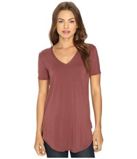 Culture Phit Preslie Cap Sleeve Modal V Neck Top Red Brown Women's Clothing