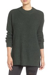 Women's Bp. Ribbed Mock Neck Pullover Green Wood Heather